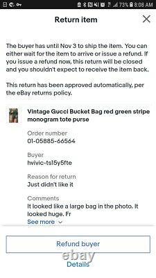 Vintage Gucci Bucket Bag red green stripe monogram tote purse