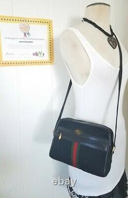 Vintage Gucci Shoulder Bag Purse GG Mono Web Stripe Ophidia Auth Canvas Leather