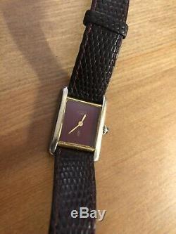 Vintage Must de Cartier Vermeil Tank Original Leather Strap Handwind 20mm W337