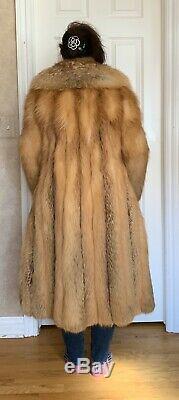 Vintage Natural Red Fox Real Fur Full Long Coat Small