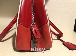 Vintage Prada Bowling Red Leather Shoulder Hand Bag