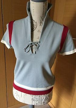 Vintage Prada Short Sleeves Light Blue Top Red Details Size 40. Used