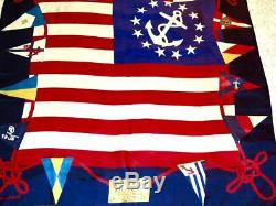Vintage Ralph Lauren Yacht Club Polo Silk Scarf Flag Multicolor Gold Red Blue