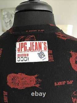 Vintage Rare Jean Paul Gaultier Faces Top Long Sleeve Black With Red Faces Sz L