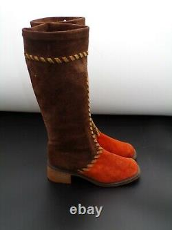Vintage Rare Mary Quant Women's Shoes 1960's Suede Casual Mid Calf Boots UK 6
