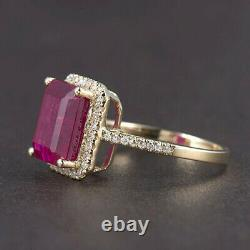 Vintage Solid 14K Yellow Gold Natural Diamond Blood Ruby Wedding Women Halo Ring