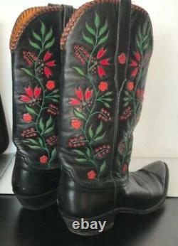 Vintage Stallion Boot Company Handmade Cowboy Boots Red Green Xmas Sz 8 1/2