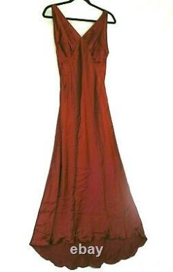 Vintage Trashy Diva 100% Silk Charmeuse Bias Cut Maxi With Train Gown Dress M