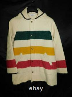 Vintage Woolrich S Cream White Hudson Bay Stripe Coat Hood Wool USA Yellow Red