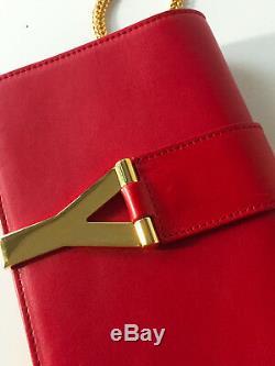 Vintage Yves Saint Laurent YSL Mini Y Ligne Red Leather Crossbody Bag RARE