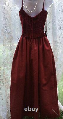 Vintage dark red velvet satin gothic bustier corset ball gown maxi prom dress
