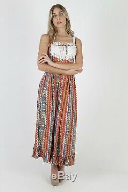Vtg 70s Country Dirndl Dress German Folk Porch Prairie Red Cotton Floral Maxi