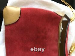 Vtg Authentic Tom Ford Era Gucci Red Suede Lion Head Shoulder Bag Purse