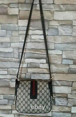 Vtg Gucci Crossbody Bag GG Monogram Blue & Red Web Stripe