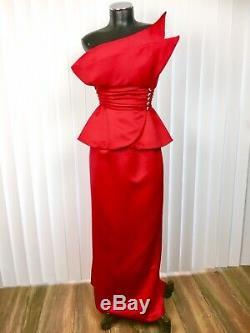 Vtg Victor Costa Red Asymmetrical Long Evening Gown Dress Dramatic Women's XS