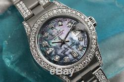Women's 26mm Rolex SS Oyster Perpetual Datejust Custom Tahitian Diamond Watch