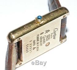 Women's Must De Cartier TANK Vermeil Quartz Watch! 925 Silver Gold Plate 366001