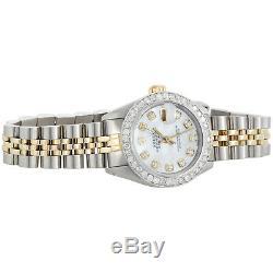 Womens Rolex Diamond Watch MOP Dial 6917 Datejust 18K/ Steel Jubilee Band 1 CT