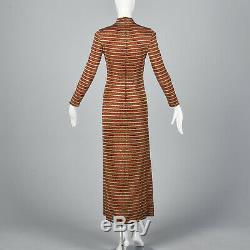 XS 1970s Dress Mollie Parnis Boutique Long Sleeve Maxi Dress VTG 70s Lurex Knit