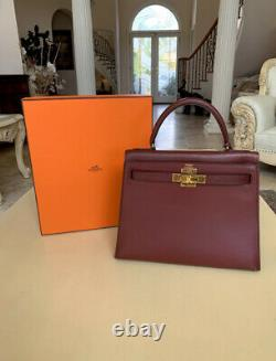 100% Authentique Hermes Kelly 28 Bordeaux Box Calf Bag Vintage