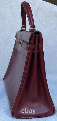 100% Authentique Hermes Kelly 32 Retourne Bordeaux Box Calf Vintage 1950s France