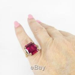 11.25ct Emerald Cut Red Ruby Vintage Mariage Femmes Bague En Or Jaune 14k Plus