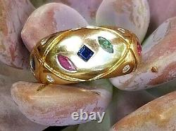14k Vintage Or Rubis Saphir Émeraude Diamant Bague Immobilier Bijoux Femmes Sz 6.5
