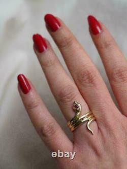 14k Yellow Gold Finish Red Ruby Cut Diamond Women's Cocktail Vintage Snake Ring