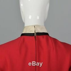 1960 Geoffrey Beene Rouge Laine Mini Robe Smoking Courte À Manches Longues Baby Doll Vtg