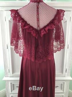 1980 Années 1970 Vintage Robe De Demoiselle D'honneur 15/16 Satin Dentelle Prairie Rose Rouge