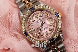 26mm Rolex Datejust Rose Métallisé Cordes Vintage Avec Cadran Saphir Et Diamant