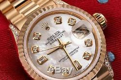 26mm Rolex Présidentielle Blanc Mop 8 + 2 Dial Diamond 18k Or Jaune Montre