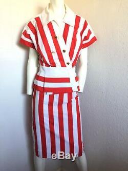80s Rare Vintage New Coton Chanel Vibrant Rouge Rayé Jupe Veste De Costume 38