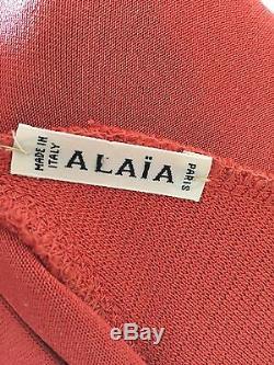 90s Rare Vintage Alaia Rouge Vermillon Rayon Cross-retour Robe S / M