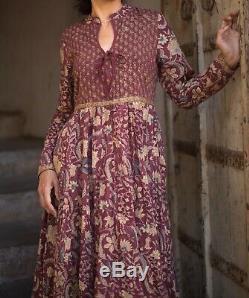 Anokhi Ilot Main Imprimer Indian Cotton Robe Maroon