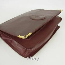 Auth Cartier Vintage Must Logo Leather Tote Hand Clutch Bag 4p Set 17506bkac