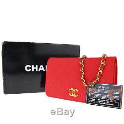 Auth Chanel CC Logo Chaîne Mini Sac À Bandoulière En Toile En Cuir Rouge Vintage 80ey407