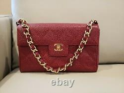 Auth Chanel Chain CC Matelassé Sac À Main Burgund Caviar Skin Leather Vintage