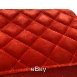 Auth Chanel Matelassée CC À Chaîne Unique Sac À Bandoulière Red Velvet Vintage Ghw Ak25690c