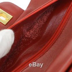 Auth Chanel Matelassée CC Double Rabat Chaîne Sac À Bandoulière En Cuir Rouge Vtg Ak07487
