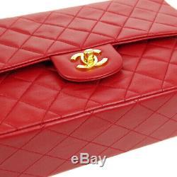 Auth Chanel Matelassée CC Double Rabat Chaîne Sac À Bandoulière En Cuir Rouge Vtg Ak31932