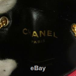 Auth Chanel Matelassée Chaîne Accessoires Collier Pochette Rouge Coton Vtg A43823f