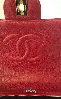 Auth Chanel Rouge Caviar Classique 2,55 Or Hw 24k Sac À Dos Vintage Rare