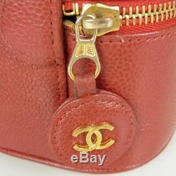 Auth Chanel Vintage CC Coco Logos Caviar Peau Cuir Vanity 13474bkac Sac À Main