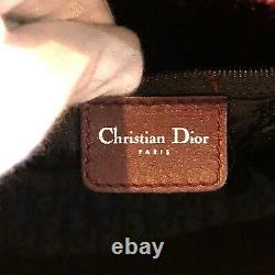 Auth Christian Dior Dice Boston Sac À Main Suede Snake Skin Red Vintage Du Japon
