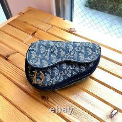 Auth Christian Dior Trotter Saddle Pouch Navy Canvas Vintage Du Japon