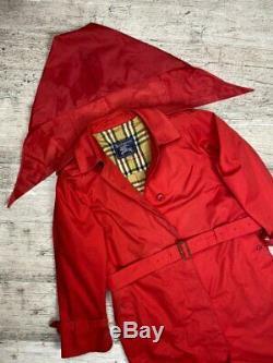 Auth Femmes Vintage Burberry Trench En Coton Rouge Manteau Taille L / XL