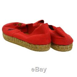 Auth Hermes Broderie Chaussures Plates Espadrilles Toile Rouge Lin # 38 Vtg Ak17225i