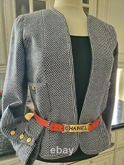 Auth. Veste Chanel Vintage Très Rare Noir/blanc Avec Ceinture Logo En Cuir Rouge 38
