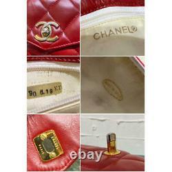 Auth Vintage Chanel Sac À Main Ceinture Sac En Cuir Rouge Matelasse Chaîne D'or Strap